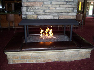 Custom propane burners designed to be used with fireplace glass